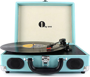 1byone Belt Driven 3 Speed Portable Stereo Turntable