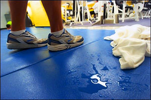 What type of towel to wipe up sweat on gym floor